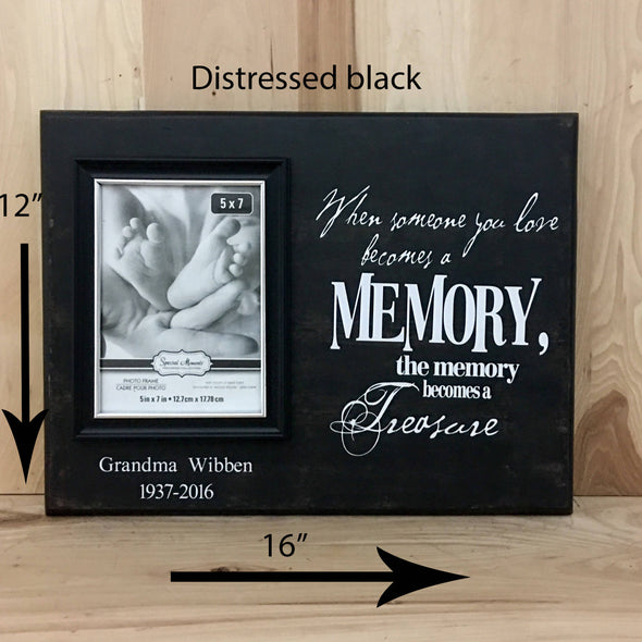 12x16 distressed black memorial wood sign with white lettering