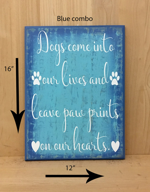 16x12 blue combo dog sign with white lettering.