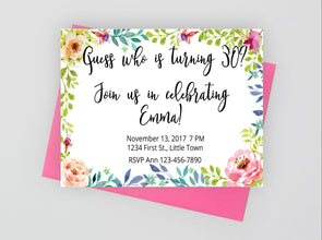 Printable floral birthday invitation.