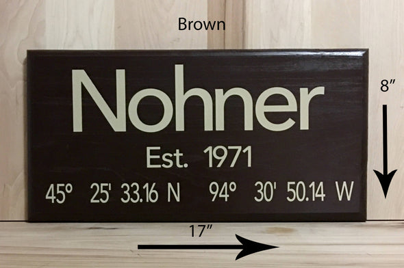 17x8 brown wooden sign with cream lettering