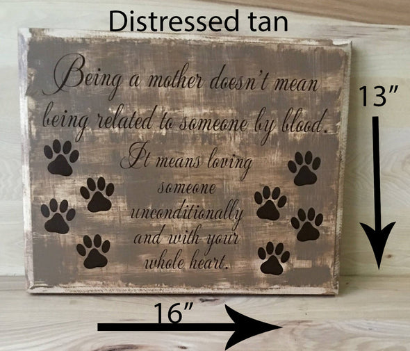13x16 distressed tan wooden sign for dog owners