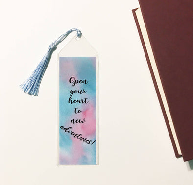 Open your heart to new adventures tassled bookmark.