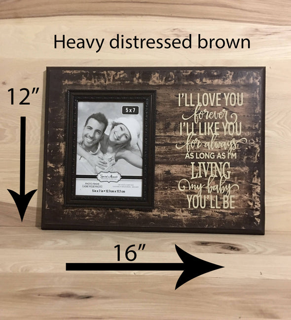 12x16 heavy distressed brown sign with attached picture frame