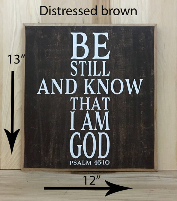 13x12 distressed brown religious sign with words in the shape of a cross.