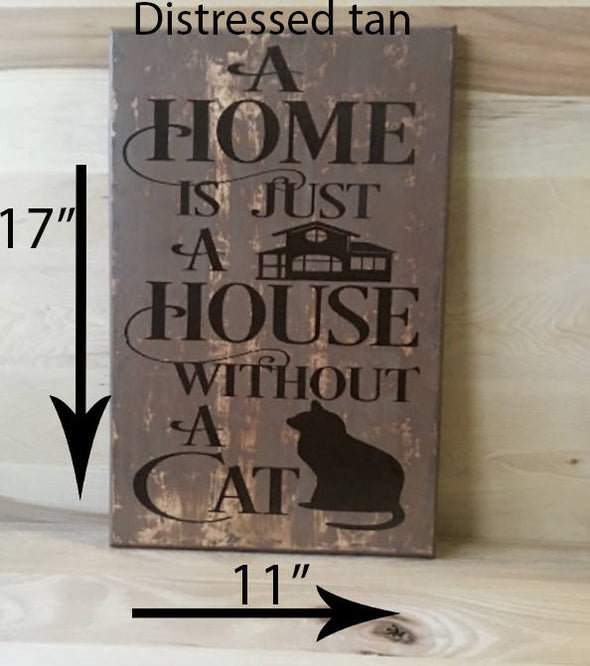 17x11 distressed tan cat wood sign
