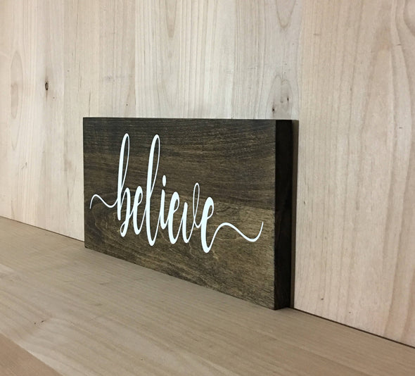 custom wood sign with calligraphy believe