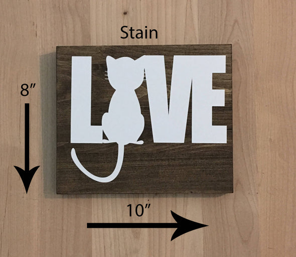 8x10 stain wood sign with cat love design.