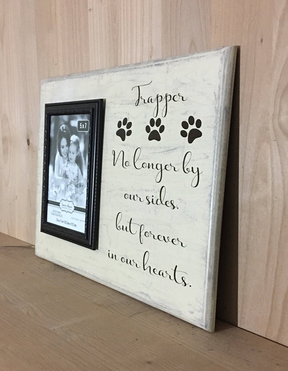 No longer by our side dog memorial wood sign with attached photo frame.