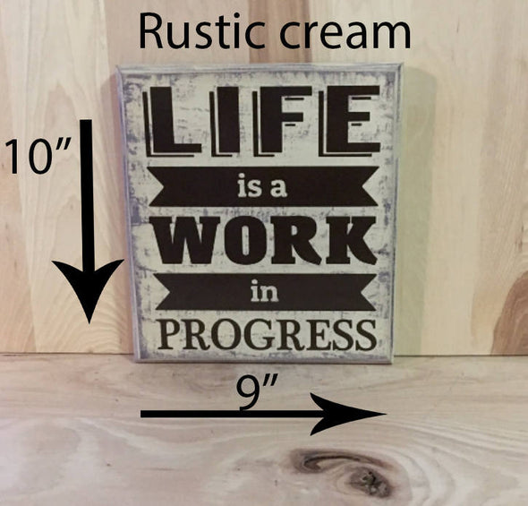 9x10 rustic cream motivational wood sign with brown lettering