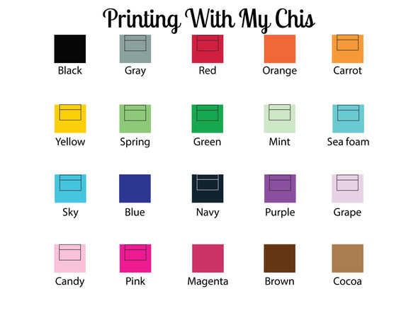 Ink color choices for stationery set.