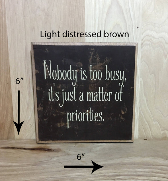 6x6 light distressed brown wood sign with cream lettering