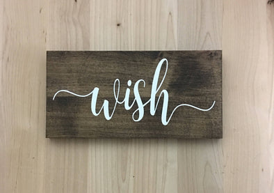Calligraphy wish wood sign for home decor.