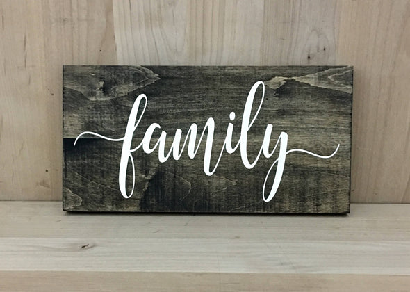 Calligraphy family wood sign for home decor.