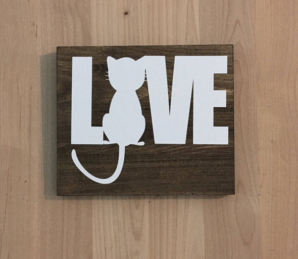 Cat love wood sign makes a great gift for cat owners.