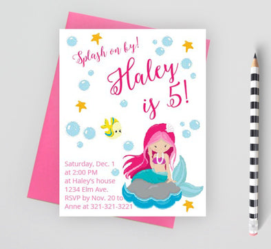 Mermaid birthday party invitation for girls.