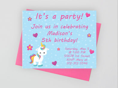 Digital unicorn birthday party invitation.