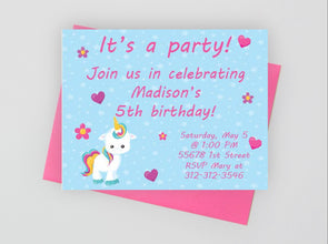 Unicorn theme birthday party invitations for girl's birthday.