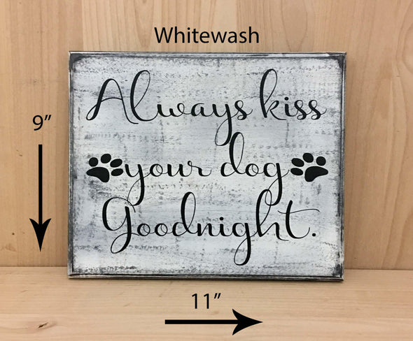 9x11 whitewash wood dog sign