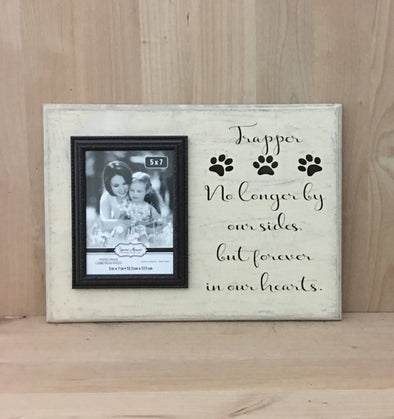 Personalized dog memorial wood sign, no longer by our side, but forever in our hearts.