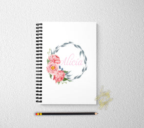Floral personalized journal for women
