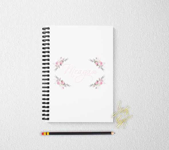 Rose personalized floral notebook for women