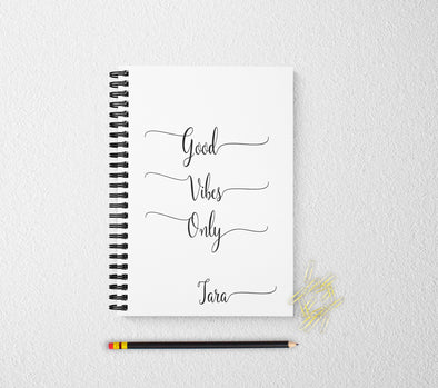 Good vibes only personalized notebook personalized custom journal personalized journal gift