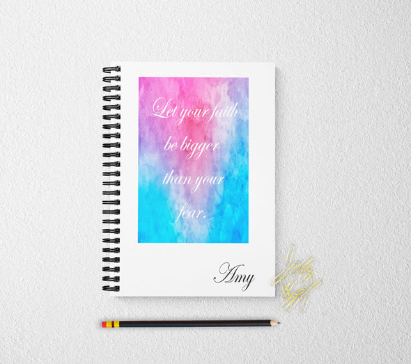 Faith personalized notebook colorful