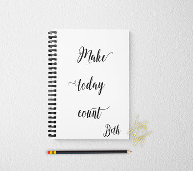 Make today count journal personalized notebook personalized custom journal personalized journal gift