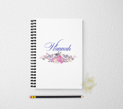 Floral personalized notebook for women