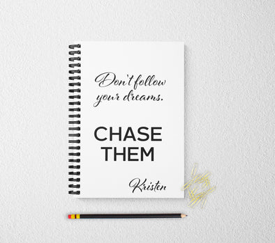 Motivational dream personalized notebook personalized custom journal