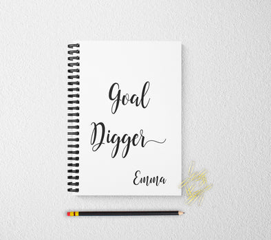 Goal digger personalized notebook motivational personalized custom journal personalized journal gift