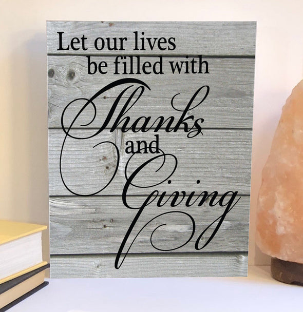 Thanks and giving wood sign