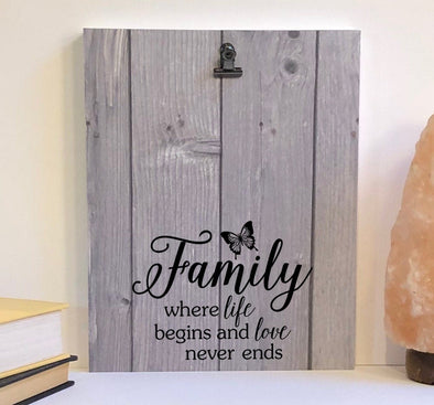Family where life begins wood sign