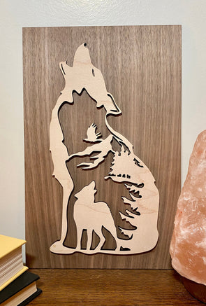 Wolf wood sign home decor, wolf wooden sign, wildlife wood sign cabin wood sign, home wood sign