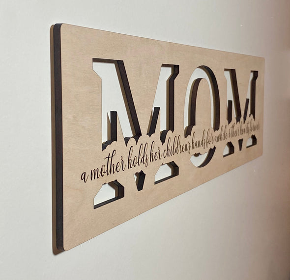 A mother holds her childrens hands wood sign home decor, gift for mother, mothers day gift, gift for mom