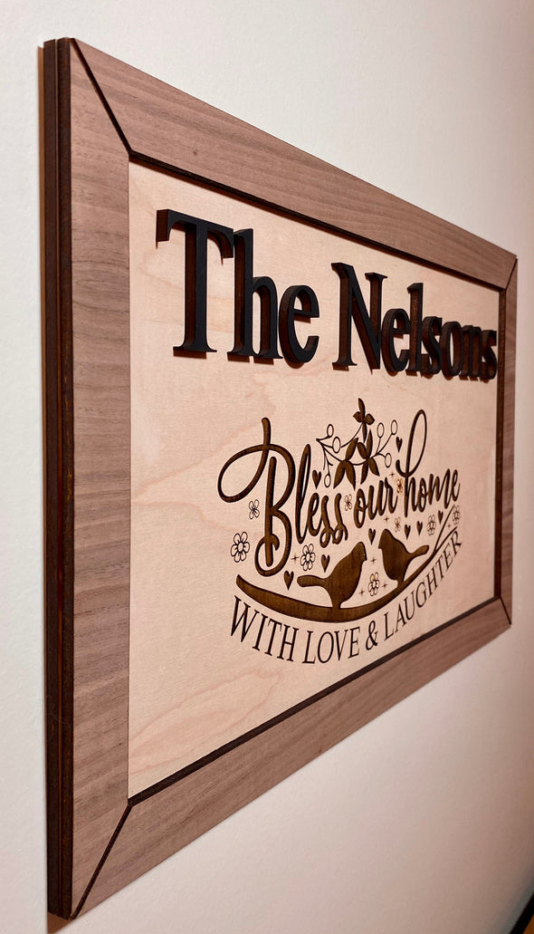 Personalized wood sign home decor, bless our home wood sign, personalized wooden sign, wood sign personalized