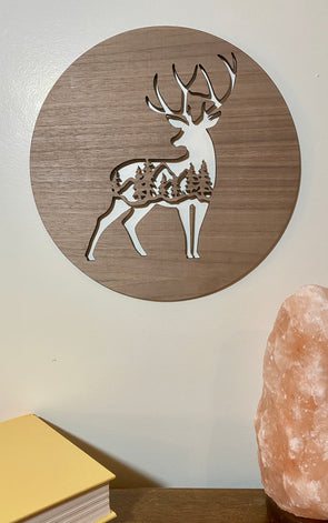Deer wood sign home decor, personalized wooden sign, deer wooden sign cabin wood sign, nature wood sign