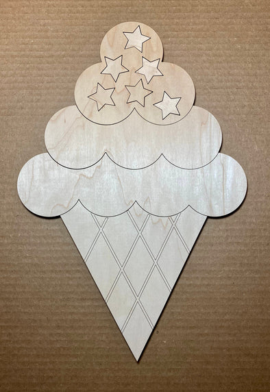 Ice cream cone wood sign diy, diy ice cream wooden sign, ice cream with stars sign, fourth of July sign