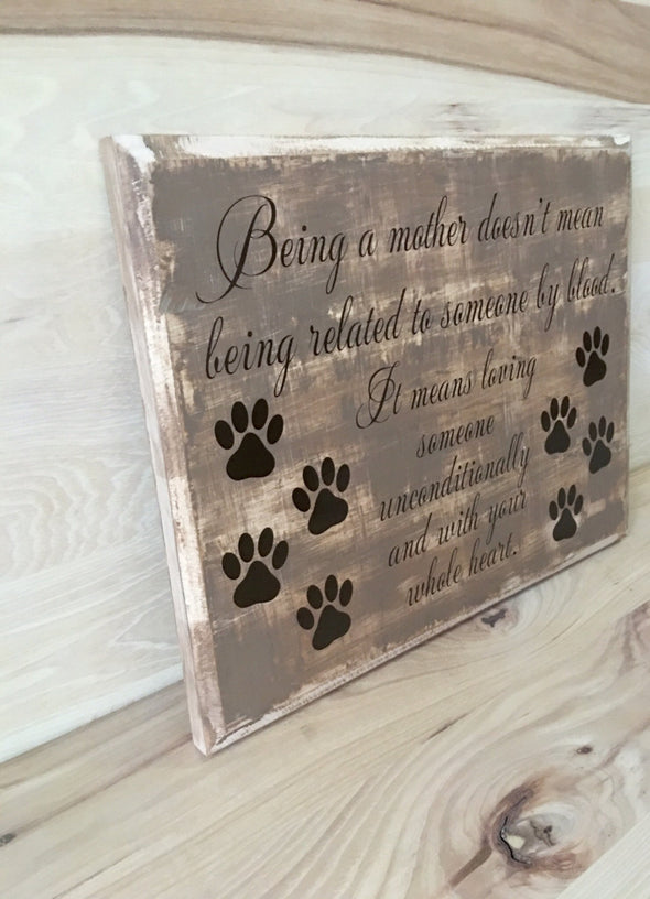 Custom wooden sign makes a great gift for dog parents.