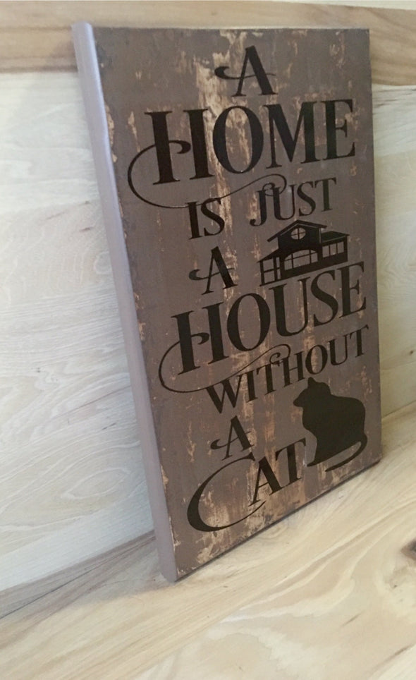 Wood cat sign for cat lover