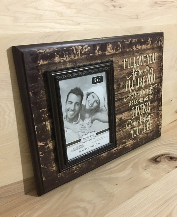 I'll love you forever sign with picture frame for nursery decor.