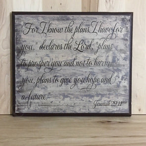 Jeremiah 29:11 religious wood sign.