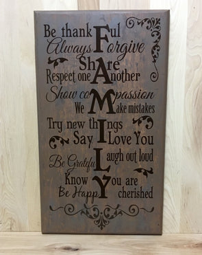 Family wood sign, be thankful, always forgive, share, respect one another