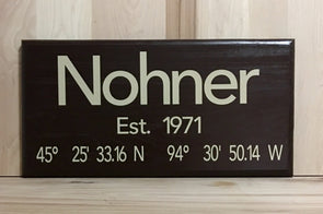 Last name established year wood sign with latitude and longitude coordinates.