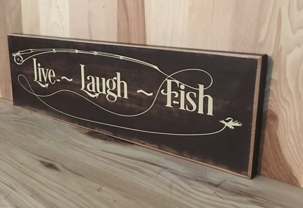Live laugh fish wooden sign for cabin or man ccave decor.