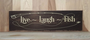 Live laugh fish wood sign for cabin decor or man cave.