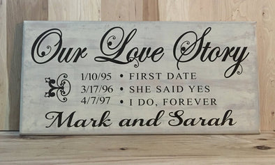 Personalized wedding wood sign, our love story