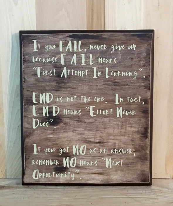 Inspirational wood sign about not giving up for home, office or classroom decor.