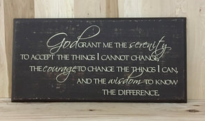 Serenity prayer wooden sign.