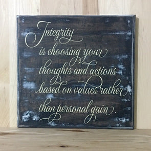 Integrity custom wood sign
